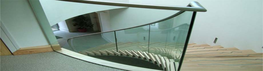 """Custom Bent Glass Staircases"""